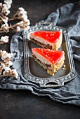 Two pieces of red grapefruit torte (vegan)