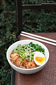 A bowl of ramen served with tofu, broad beans, fresh sprouts, spring onion and a hard-boiled egg (Japan)
