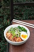 Ramen-Suppe, serviert mit Tofu, Bohnen, Sprossen, Frühlingszwiebeln und gekochtem Ei (Japan)