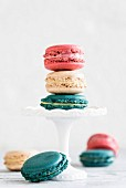 Sweet homemade colorful macarons served