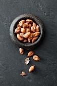 Wild peanuts in a stone bowl