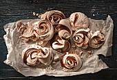 Several meringues on baking paper