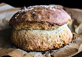 Homemade and baked rustic bread, selective focus