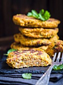 Healthy vegan pumpkin burgers