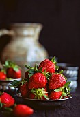 Strawberries on a tin plate