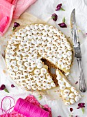 Lemon pie with cottage cheese, sliced