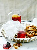 Cranberry spritzers and spicy pastries