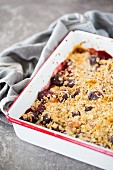 Cherry, raspberry, and pear crumble