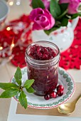 Cranberry sauce in a glass for Christmas dinner