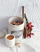A crunchy muesli mixture with ground rose hips