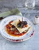 Open lasagne with wild mushrooms