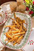 Oven-roasted parsnips with maple syrup for Christmas dinner