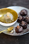 Energy balls with cashew and olive oil ice cream