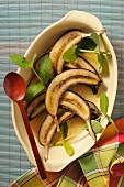 Baked bananas in an oven dish