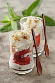 Fontainebleau (cream cheese dessert, France) with strawberries and cream