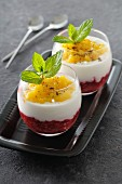 Layered dessert with Greek yoghurt and fruit compote