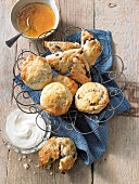 Traditional scones with blueberries, and scones with sour cherries and nuts