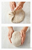 Folding and shaping bread dough