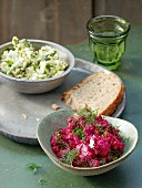 Feta cream with artichokes and beetroot