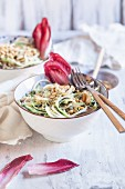 Zoodles: courgette noodles with red chicory and vegan cashew nut sauce
