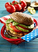 A salmon burger with mushrooms (low carb)