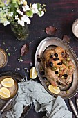 Chicken with green and black olives