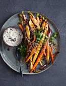 Colourful carrots with bean puree
