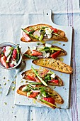 Strawberry and mozzarella salad with ciabatta