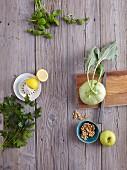 Parsley, lemon, basil, kohlrabi, walnuts and apple