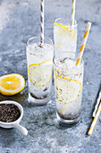 Aqua fresca with lemons and chia seeds