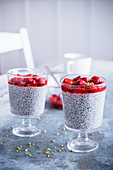 Vegan chia pudding with strawberries