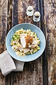Riesling chicken with herb crumbs