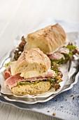 A baguette Parisienne with ham