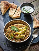 Lentil and avocado salad with a yogurt dip
