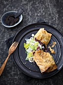 Red cabbage strudel with creamy leeks