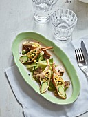 Baked zucchini blossoms with leeks and Madeira
