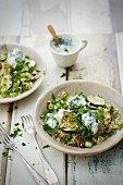 Zucchini and herb bulgur wheat with seasoned yoghurt