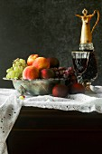 Fruit bowl and red wine