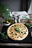 Meditteranean flatbread with olives and rosemary