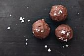 Three chocolate truffle pralines