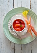 Rhubarb compote in a cup