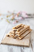 Crepes filled with nougat