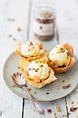 Pistachio ice cream in pastry parcels