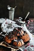 Homemade mini kugelhopf with chocolate on the top