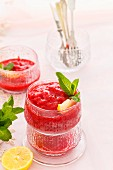 Raspberry granita with mint
