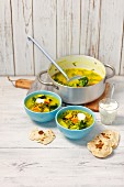Vegetable curry with sweet potatoes, broccoli and green lentils