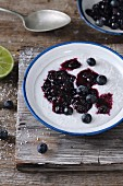 Coconut milk rice pudding with blueberries