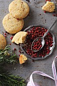 Gluten-free rice biscuits with red peppercorns