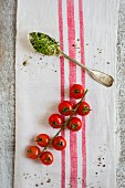 Cherry tomatoes on the vine and a spoonful of cress on a tea towel
