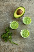 Green avocado and parsley smoothies